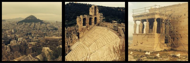 View from Sanctuary of Zeus. Odeum of Herodes Atticus. Erechtheion.