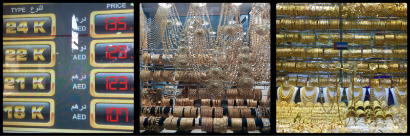 The price of Gold today. Gold and more Gold @ Deira Gold Market. Dubai. UAE
