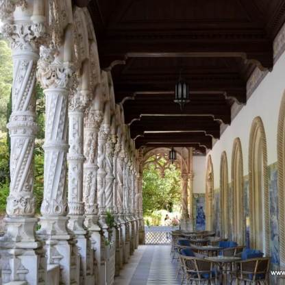 Terrace lined with azulejos and sculpted columns, Palace hotel, Buçaco