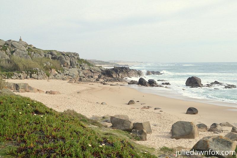 Rocky beach of Praia Castro Sampaio, Portuguese coast between Matosinhos and Vila do Conde, Camino Portugues