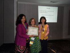 Susmita, Anna and Jiayang with Anna's Distinguished Professional Service Award