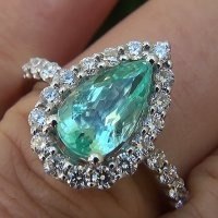 A Magnificent GIA Certified 2.36 Ct VVS Natural Paraiba Tourmaline Diamond 14k White Gold Ring