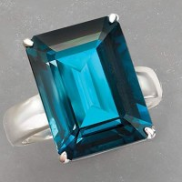 Stunning 12.00 Carat London Blue Topaz Ring in Sterling Silver