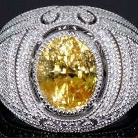 A Gorgeous Yellow Sapphire Diamond Statement Ring GIA Certified 18k White Gold 7.67 tcw