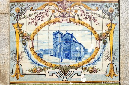 Painted tile panel of the Gothic parish church in Caminha, Portugal