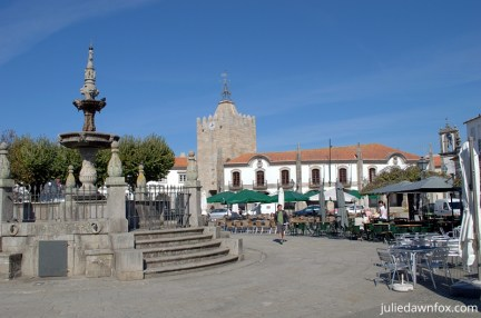 Outdoor cafés and 16th century fountain. Things to do in Caminha Portugal