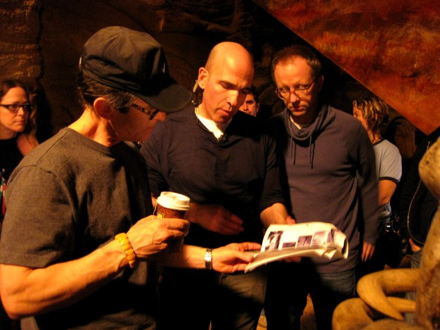 David Twohy, Myron Hoffert, Mike Drake checking our storyboards, Montreal, RIDDICK, 2012.