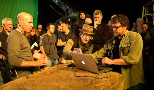 David Twohy and crew reviewing previs prior to rolling camera .RIDDICK-2012
