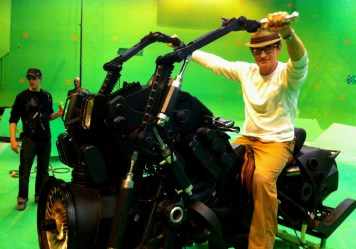 David Twohy testing out a jet hog, Montreal, RIDDICK, 2012.