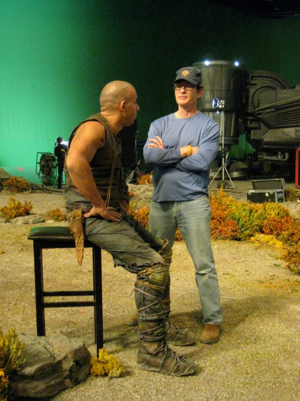 Vin Diesel and David Twohy, High Plains scene, Montreal, RIDDICK, 2012.
