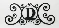 Wrought Iron Monogram Wall Plaque Letter D