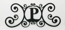 Wrought Iron Monogram Wall Plaque Letter P