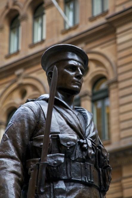 Australian War Memorial and a statue of soldier