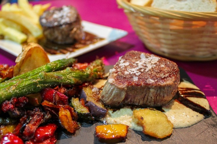 Recommended steak, Solomillo a la planche pintxos, at Bar Astelena in San Sebastian, Spain