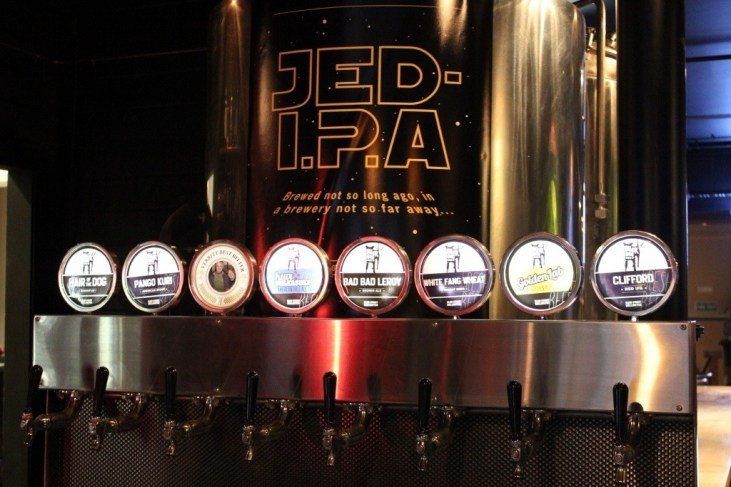 Taps at Black Dog Brewery in Wellington, New Zealand