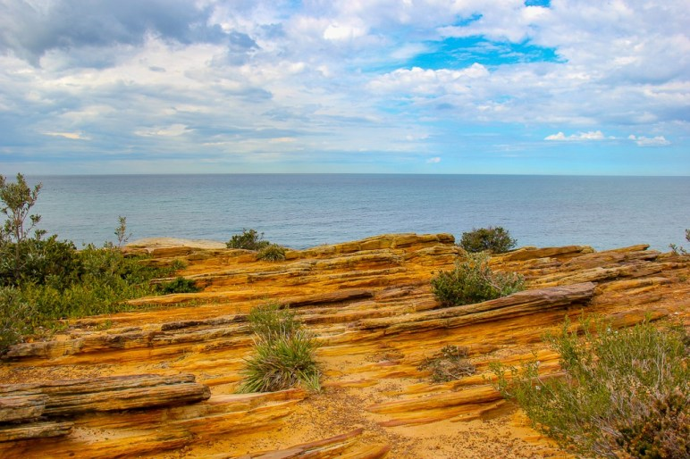 Seaside rock formations along the Bondi to Coogee Walk in Sydney, Australia