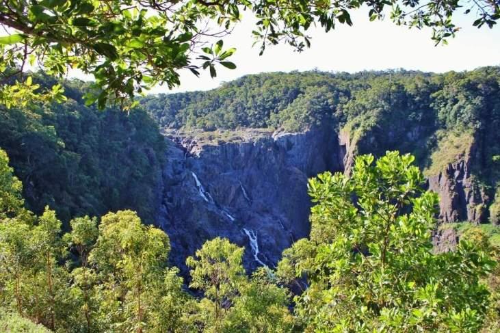 View of Barron Falls from scenic railway from Kuranda to Carins in Australia