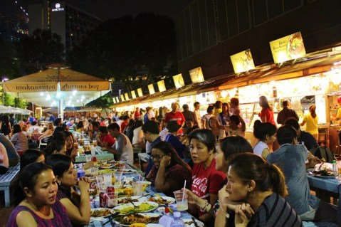 Diners at Makansutra Gluttons Bay Hawker Center in Marina Bay Singapore