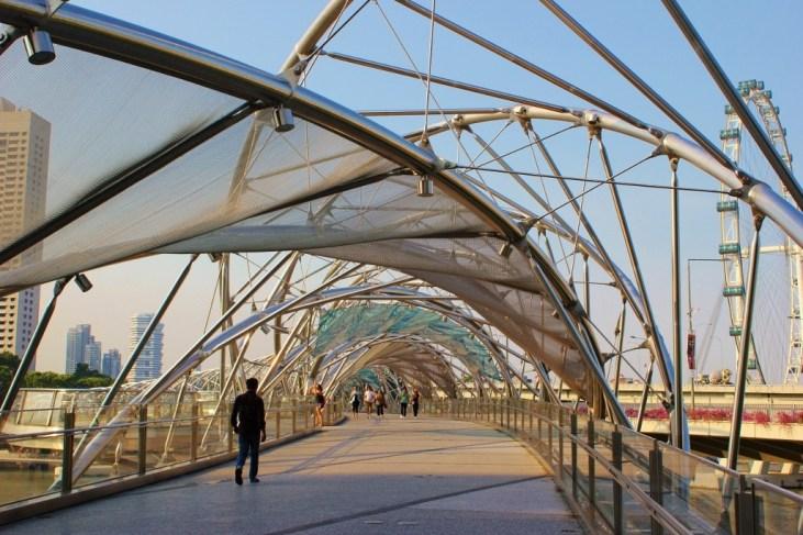 DNA-looking Marina Bay Bridge, The Helix, Singapore