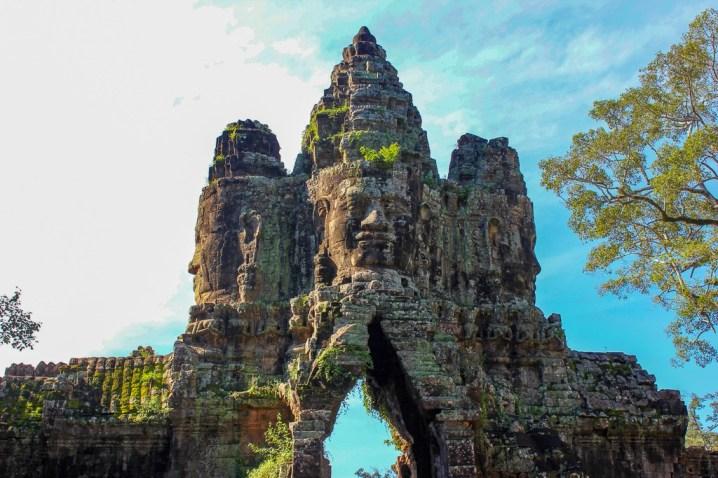 South Gate tower of faces at Angkor Thom at Angkor Park in Siem Reap, Cambodia