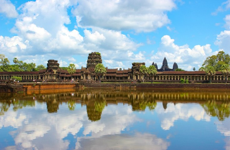 View of Angkor Wat from outside the moat at Angkor Park in Siem Reap, Cambodia