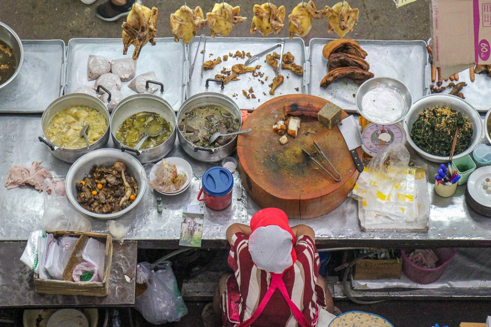 Food vendor stall at market in Chinatown in Chiang Mai, Thailand