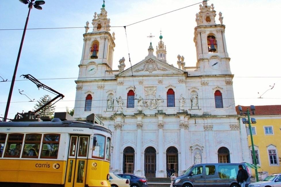 Estrela Basilica and Tram in Lisbon, Portugal