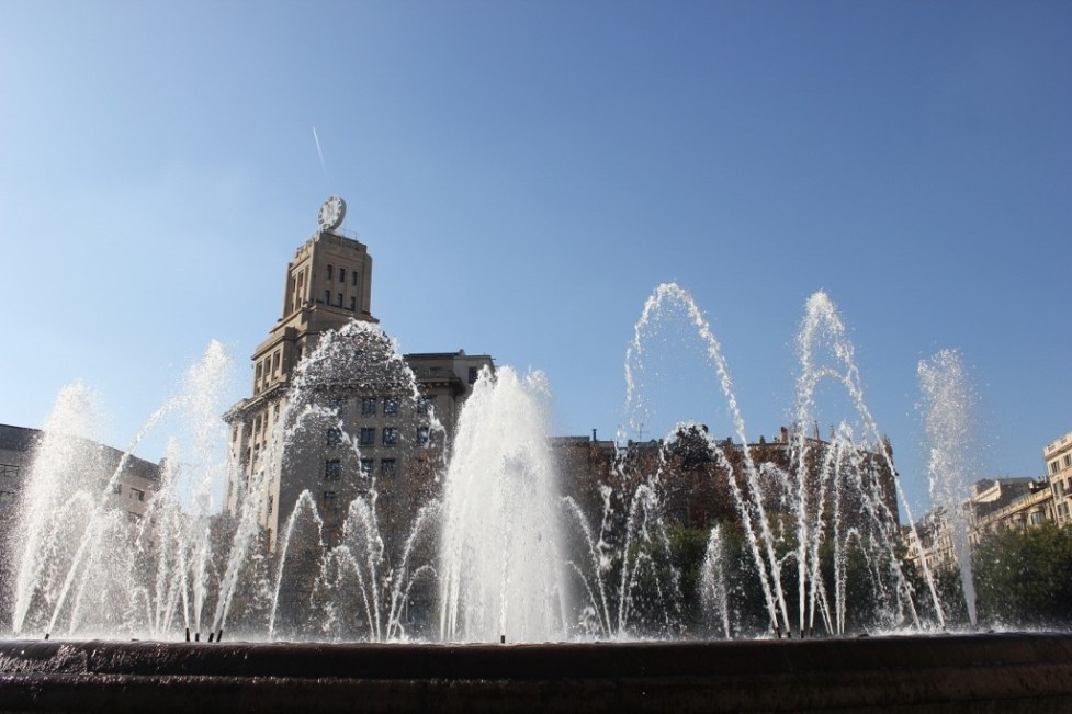 Fountain on Placa de Catalunya in Barcelona, Spain