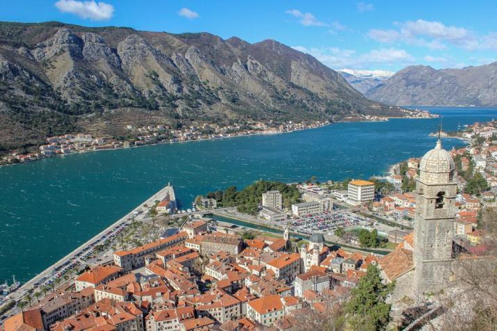 Bay of Kotor and Church View, Hiking Up Kotor, Montenegro