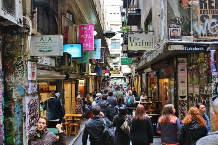 One of Melbourne's many laneways - an alley repurposed with shops and cafes
