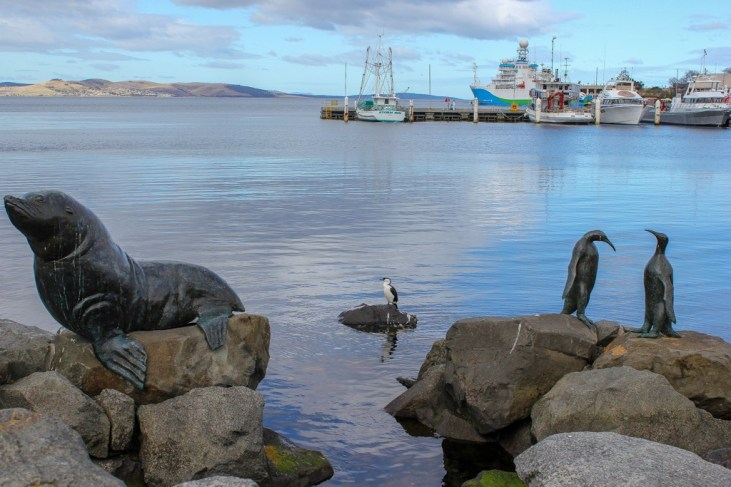 Statues along the docks, Hobart, Tasmania, Australia