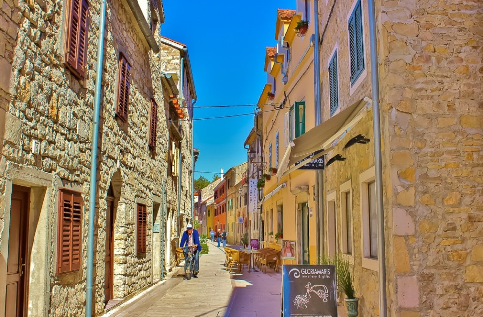 Main street through Skradin, Croatia