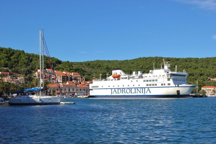 Jadrolinija Ferry from Split to Vis in Vis Port, Croatia