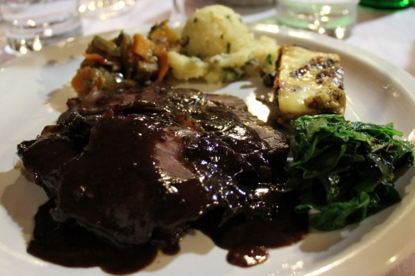 Roasted veal and prosciutto with teran wine sauce at Skerlj