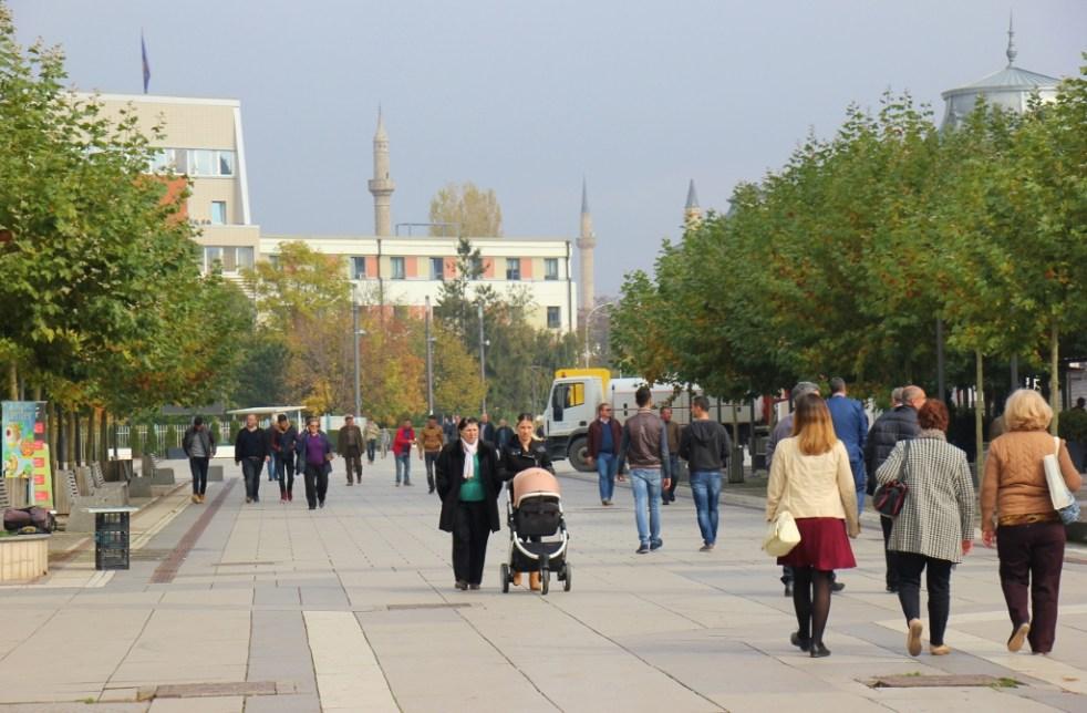 Mother Teresa Boulevard pedestrian street in Prishtina, Kosovo