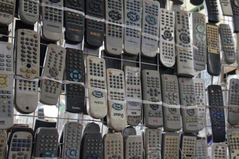 Dozens of used television remotes for sale at Green Market in Belgrade, Serbia