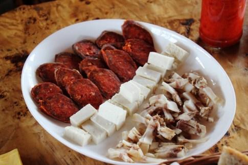 Homemade meat and cheeses at Orlov Put Eco Farm near Osijek, Croatia