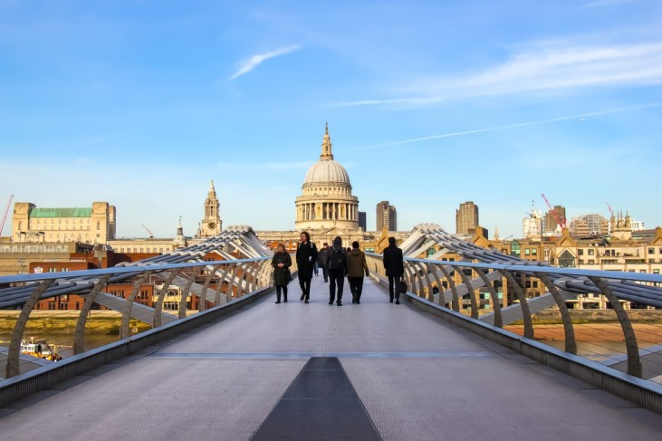 View of St Pauls from Millennium Bridge, London
