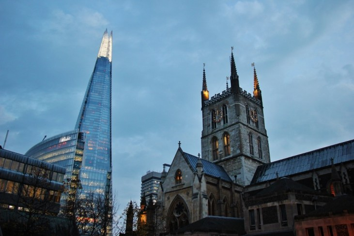 The Shard and Southwark Cathedral, London, England, JetSettingFools.com