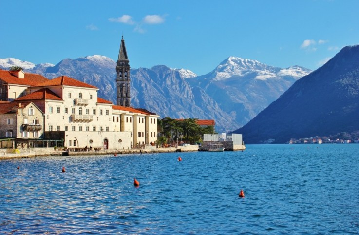 Perast, Monenegro bell tower and mountains