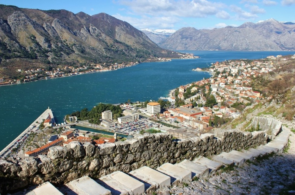 Steps on hiking trail to San Giovanni Castle on St. John's Hill in Kotor, Montenegro