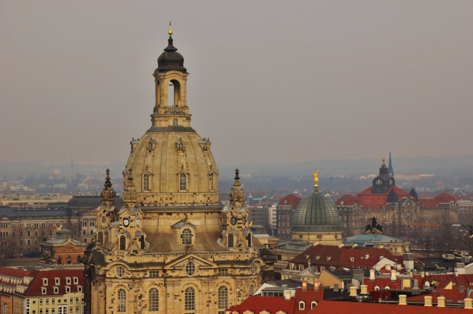 View of the Frauenkirche from the top of the Kreuzkirche in Dresden, Germany