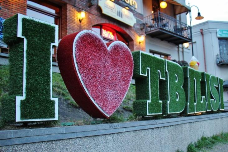 Welcoming I Love Tbilisi sign in Tbilis, Georgia