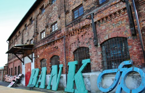 Entrance to the Neon Museum in Praga neighborhood in Warsaw, Poland