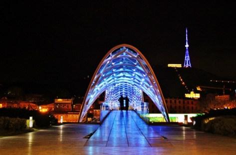 Peace Bridge lit up at night, Tbilisi, Georgia
