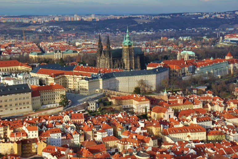 Petrin Tower views of Prague Castle and Cathedral, Prague, Czech Republic, JetSettingFools.com