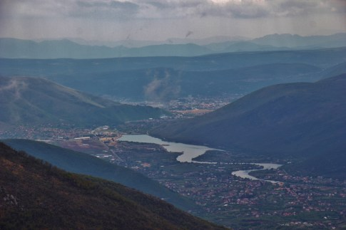 Looking at Mostar from the mountains, Mostar, Bosnia-Herzegovina