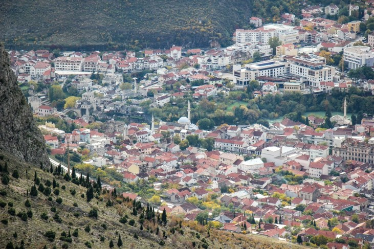 View of Old Town from Fortica in Mostar, Bosnia and Herzegovina