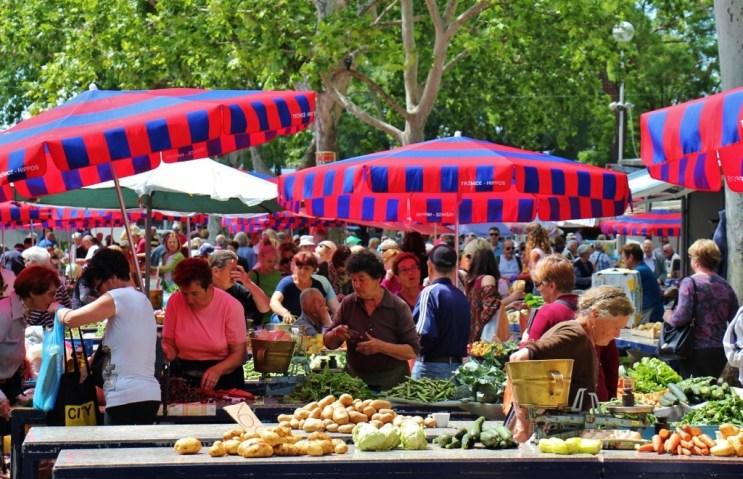 Fresh produce at Green Market in Split, Croatia