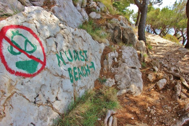 Nudist Beach sign, Makarska, Croatia